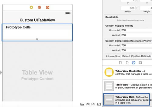 UITableView custom cell: how to define a custom cell with