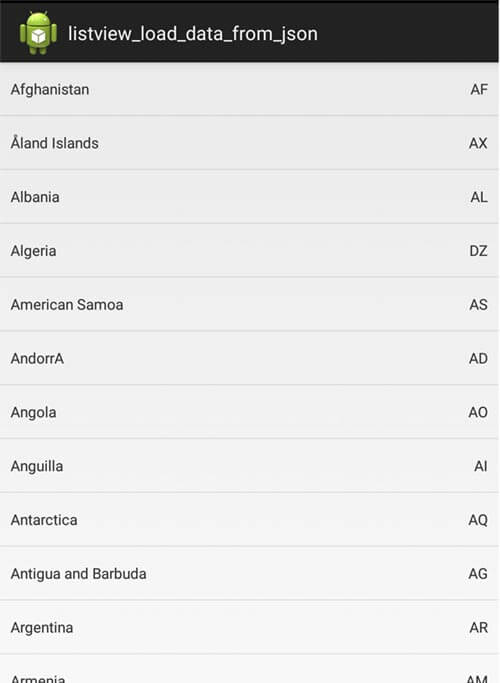 Android load data from json